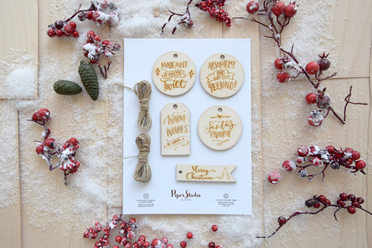 Wooden Christmas Gift Tags - Pack of 5 tags Laser Engraved