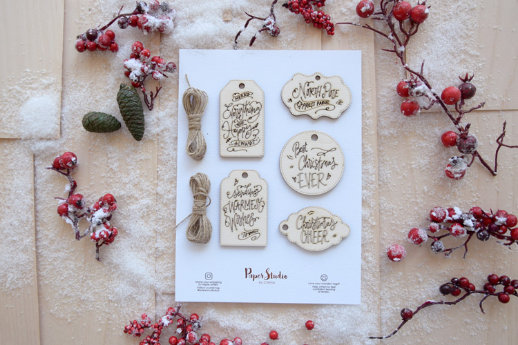Wooden Christmas Gift Tags - Laser-cutting - Pack of 5 tags