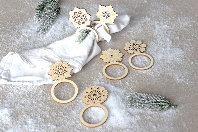 Wooden Snowflake Napkin Rings - Set of 6