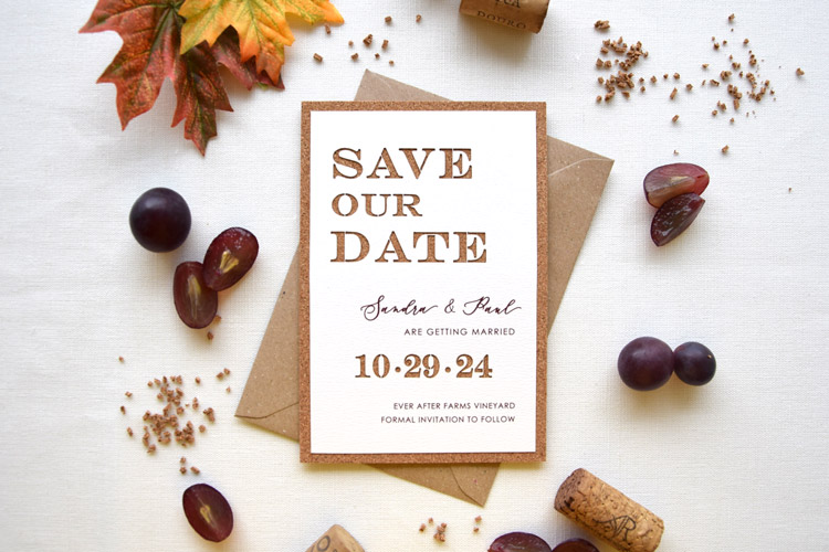 Rustic Cork Winery Wedding Save the Date