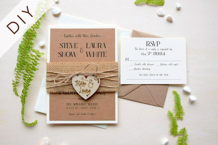 Diy Rustic Wedding Invitation With Wooden Heart Rustic Chic Wedding