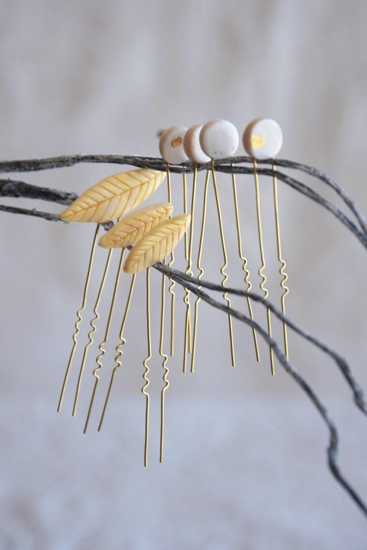 Golden Leaf Wedding Hair Accessories Set