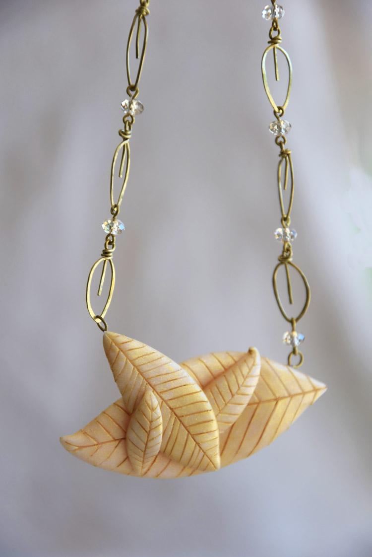 Golden Leaves Bib Necklace For Brides