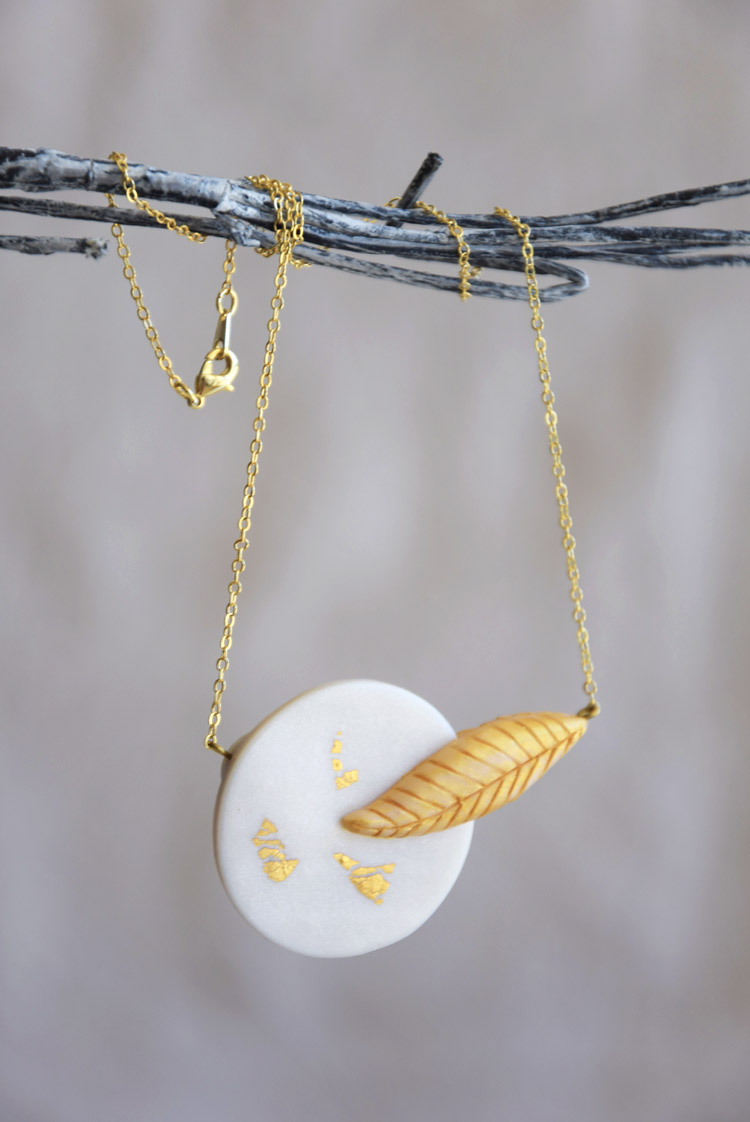 Modern Leaf Necklace Bridal Jewelry