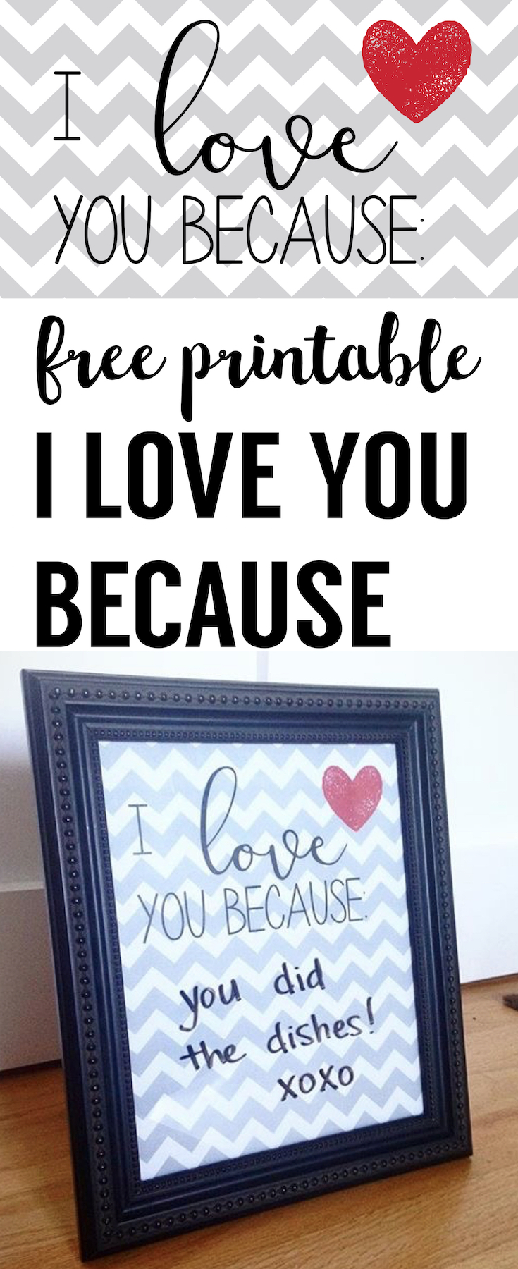 I love you because free printable. I love you because poster is a fun way to write valentine love messages back an forth.