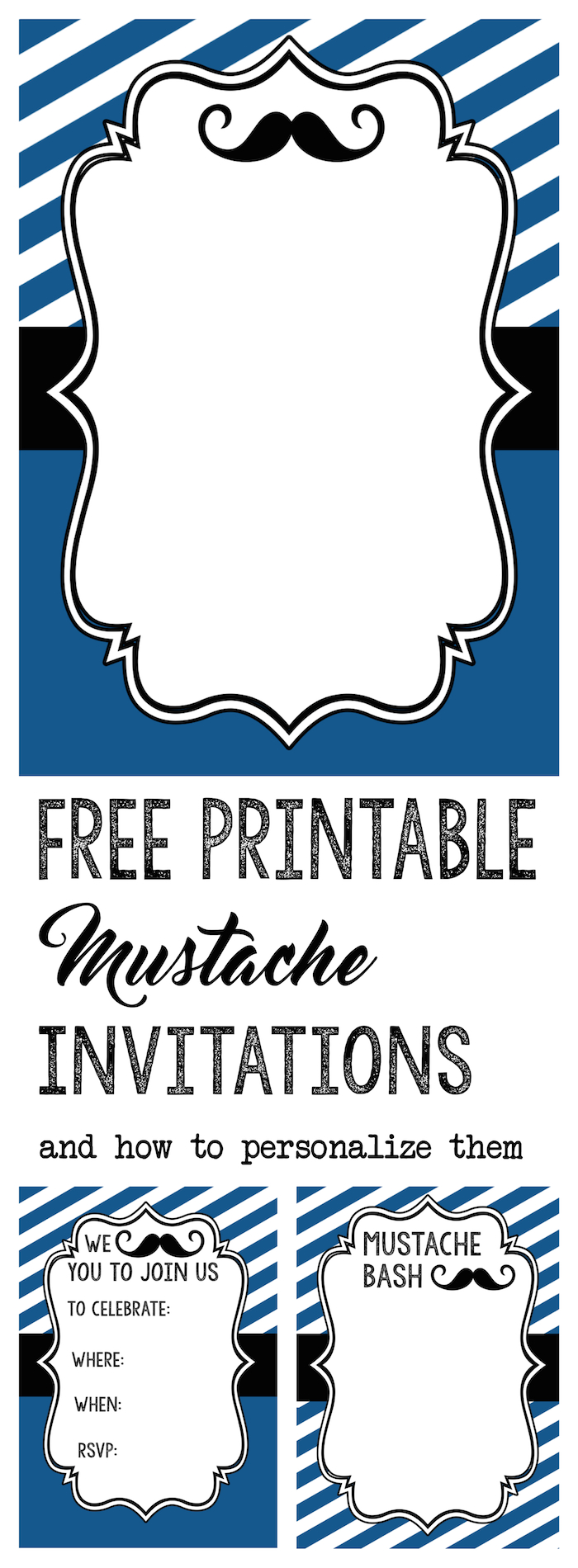 photo relating to Free Printable Mustache Baby Shower Invitations identified as Mustache Get together Boy or girl Shower Invites - Letter