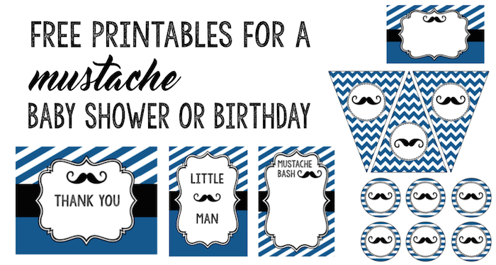 Exceptional Mustache Baby Shower Birthday Short. 10 Free Printables ...