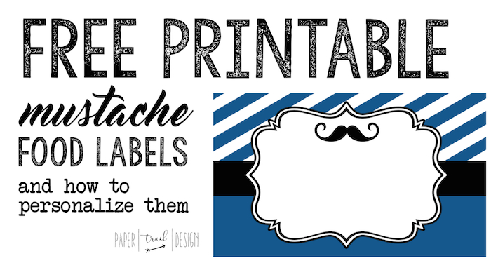 photograph relating to Free Printable Food Labels called Mustache Meals Labels Cost-free Printable - Paper Path Layout