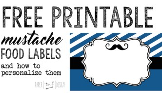 Mustache Food Labels Free Printable
