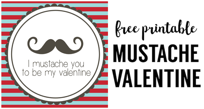 image about Free Printable Mustache identify Cost-free Printable Mustache Valentines - Paper Path Style and design