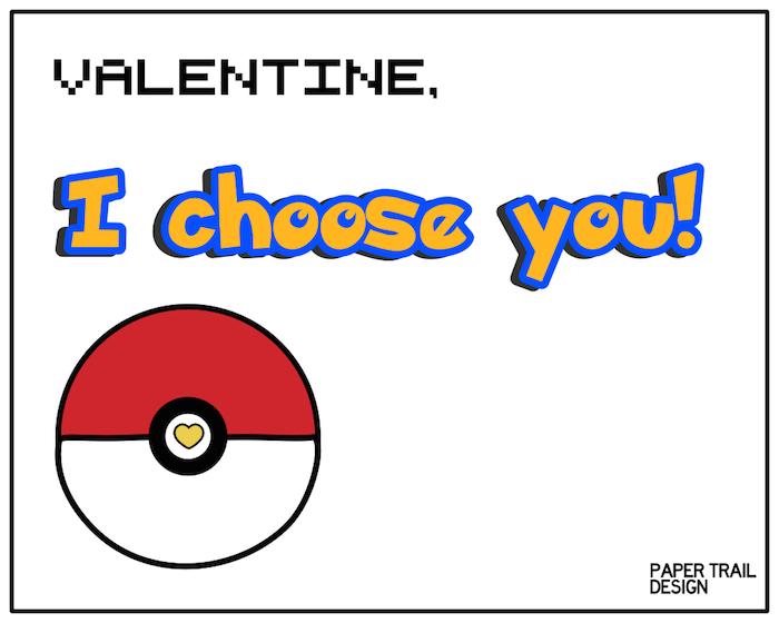 photo regarding Free Printable Pokemon Cards called No cost Printable Pokémon Valentine Playing cards - Paper Path Layout