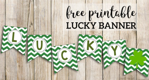 Lucky Banner St. Patrick's Day Free Printable. Cute easy DIY St. Paddy's day decorations. #papertraildesign #stpatricksday #stpaddysday #stpaddysdaybanner #stpatricksdaybanner #lucky #luckybanner #luck #luckoftheirish #irish