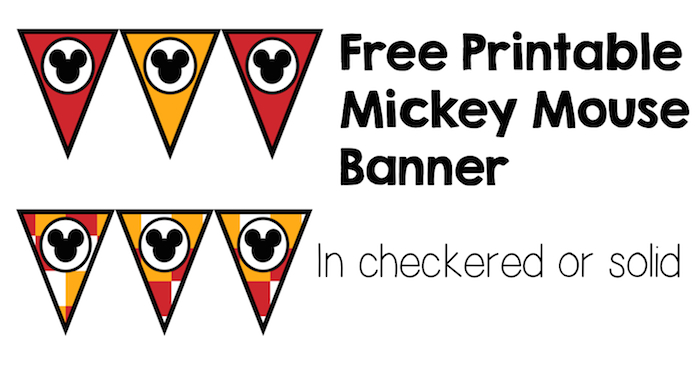 Mickey Mouse Banner Free Printable for birthday party decorations. Just print, cut, hang. It's that easy!