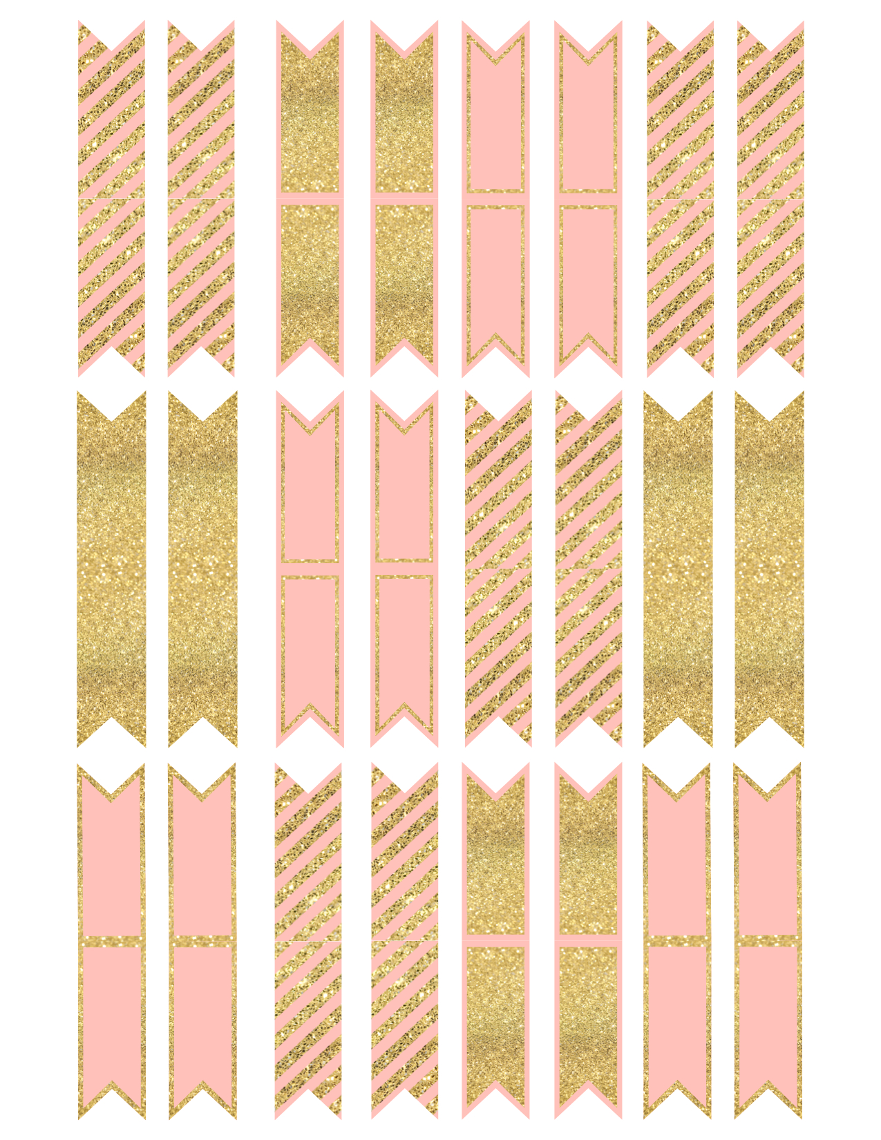Pink And Gold Cupcake Topper Flags Or Bunting Paper