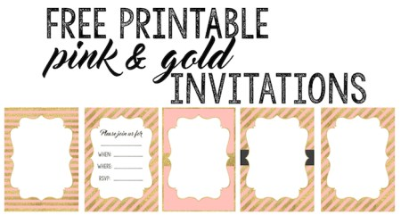 Party invitation templates free printables paper trail design pink and gold invitations free printable select a pink and gold invitation and personalize it stopboris Gallery