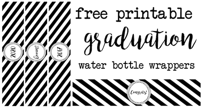 Graduation water bottle wrappers free printable. Print these watter bottle labels for your graduation party. Labels include congrats, boom, 2016, 2017, 2018, 2019, and 2020. Coordinate them with our other graduation printables.