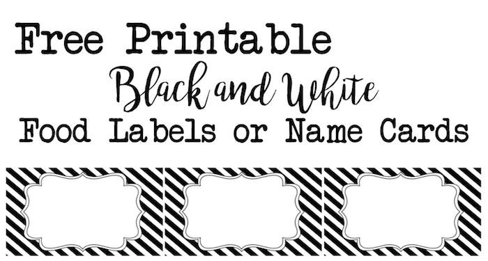picture about Free Printable Food Labels for Party named Black and White Meals Labels or Reputation Playing cards - Paper Path Structure
