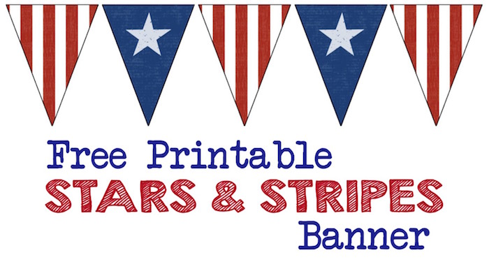 Stars & Stripes Banner Free Printable. Decorate with this American flag inspired banner for Memorial Day, Fourth of July, Veterans Day or any patriotic holiday. Independence day, 4th of July, July 4th