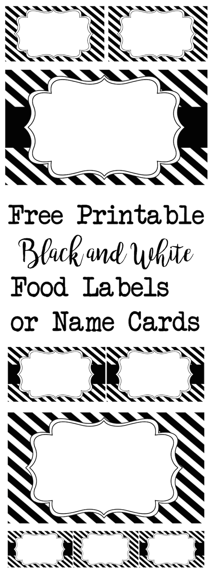 Black & White Food Labels or Name Cards. Use for graduation, halloween, an over the hill party, a black and white wedding. These are elegant and versatile.