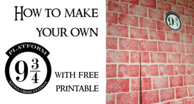 DIY Harry Potter Platform 9 3/4 with free printable! Make your own walk through platform for about $5