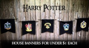 Harry Potter Hogwarts House Banners DIY for under $1 each. Make these simple banners for a Harry Potter theme party with felt, sticks or dowels, printed paper and glue.