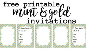 Mint and Gold Party Invitations Free Printable
