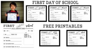 First Day of School All About Me Sign free printable sign. Preschool, Kindergarten, First Grade, through Senior year. Print this sign for back to school pictures.