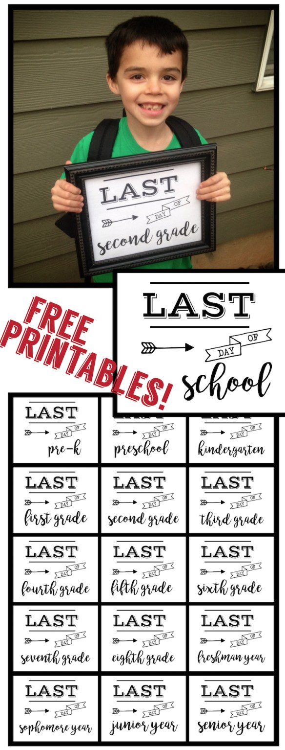 Last Day of School Sign Free Printable poster. Preschool, Kindergarten, First Grade, through Senior year. Print this sign for last day of school pictures.