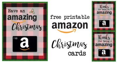 Printable Christmas Gift Card Holders for Amazon. Print free printable flannel Christmas cards for amazon gift cards. Great teacher gift for Christmas.