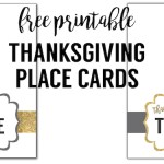 "Free printable Thanksgiving place cards. These ""thankful for"" gold and grey colored place cards are a fun easy DIY for your Thanksgiving dinner table. Included is instructions on how to personalize them digitally using picmonkey."