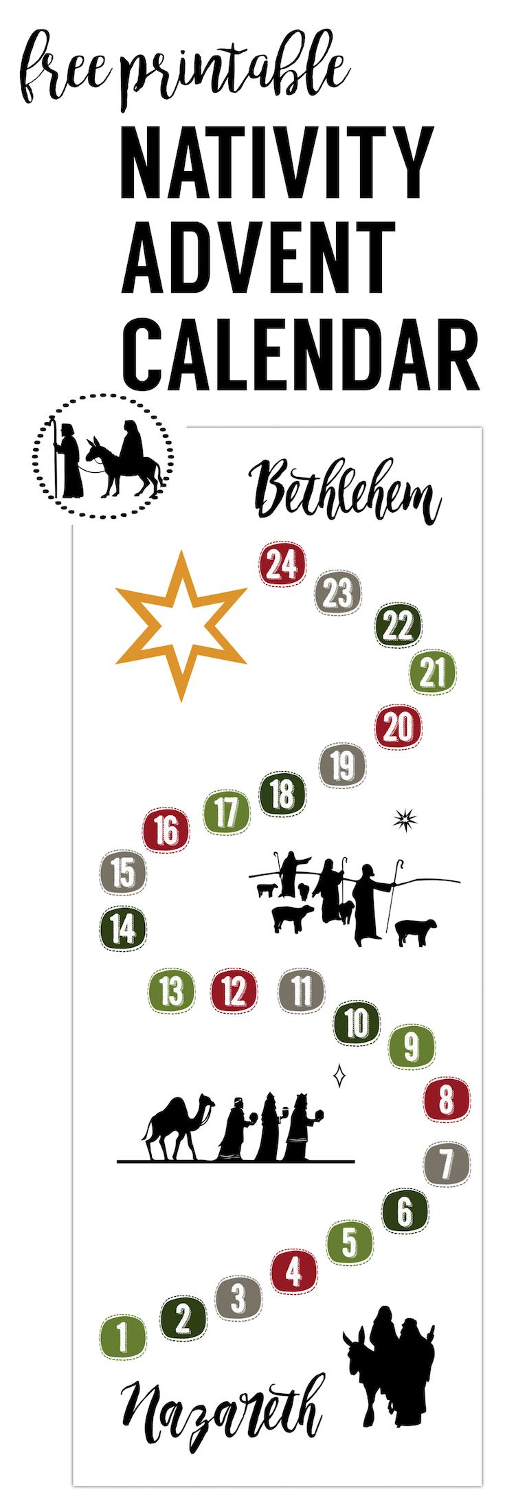 Free Advent Calendar Printable. This DIY Nativity Advent calendar is so easy! Just print this easy advent calendar nativity and let Mary and Joseph make their way to Bethlehem.