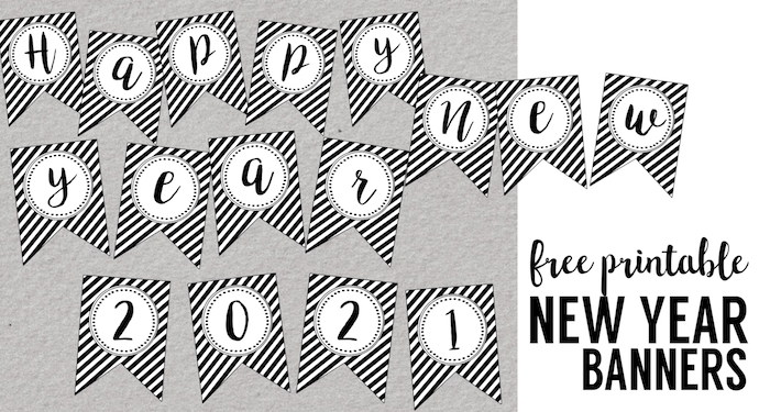 Happy New Year Banner Printable. Easy DIY for your New Year's party decor. Simple elegant black and white new years decorations. #papertraildesign #newyearparty #newyears