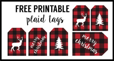 Rustic Christmas Tags Free Printable. Buffalo plaid Christmas tags to print for free. Add these free printable rustic tags to make your gift wrap look super cute!