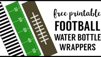 Football water bottle labels free printable. Cheap football party decorations for a superbowl party, football team party, football birthday party, or football themed baby shower.