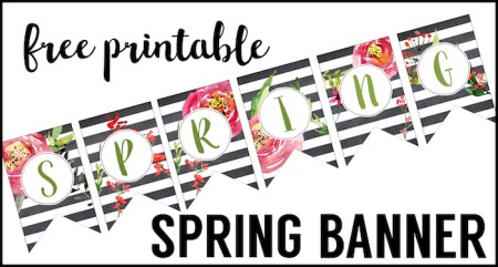 Spring Banner Printable {Spring Decorations}. These DIY cheap spring decorations are easy and free. Just print cut and hang this watercolor flower banner.