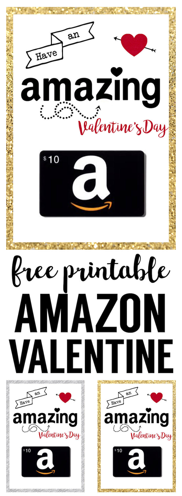image relating to Amazon Gift Card Printable titled Amazon Valentine Card Printable - Paper Path Structure