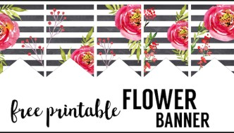 Watercolor Flower Banner Free Printable. Print this spring floral banner for your baby shower, spring decor, bridal shower, wedding decorations, or birthday party.