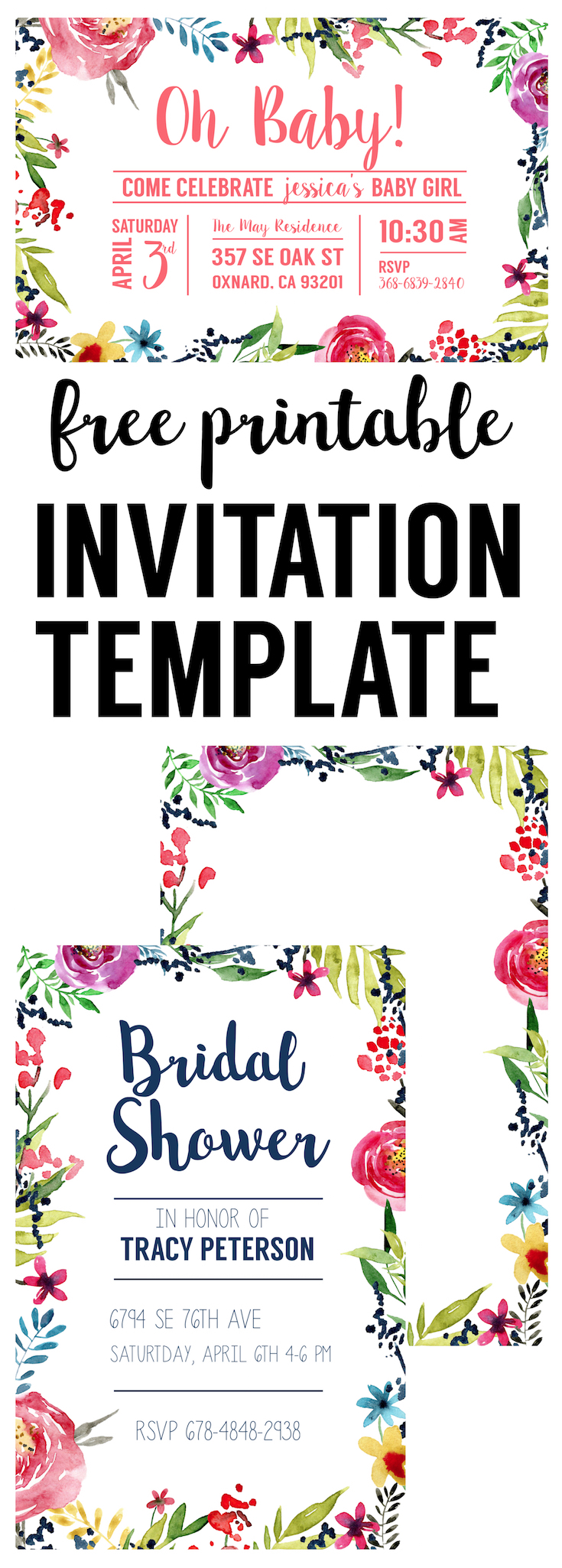 Floral Borders Invitations {Free Printable Invitation ...