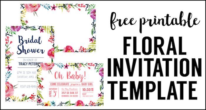 Floral Borders Invitations Great Diy Free Watercolor Flower Invitation Templates