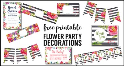 Flower Party Printables, Free Printable Decorations. Print this complete DIY decorations set for a floral baby shower, birthday party, bridal shower, wedding, spring garden party, or Easter brunch.
