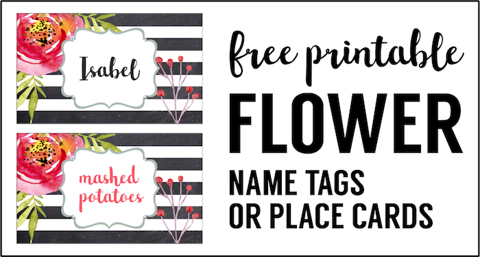 flower place card holder or food labels free printable great diy name tags or food