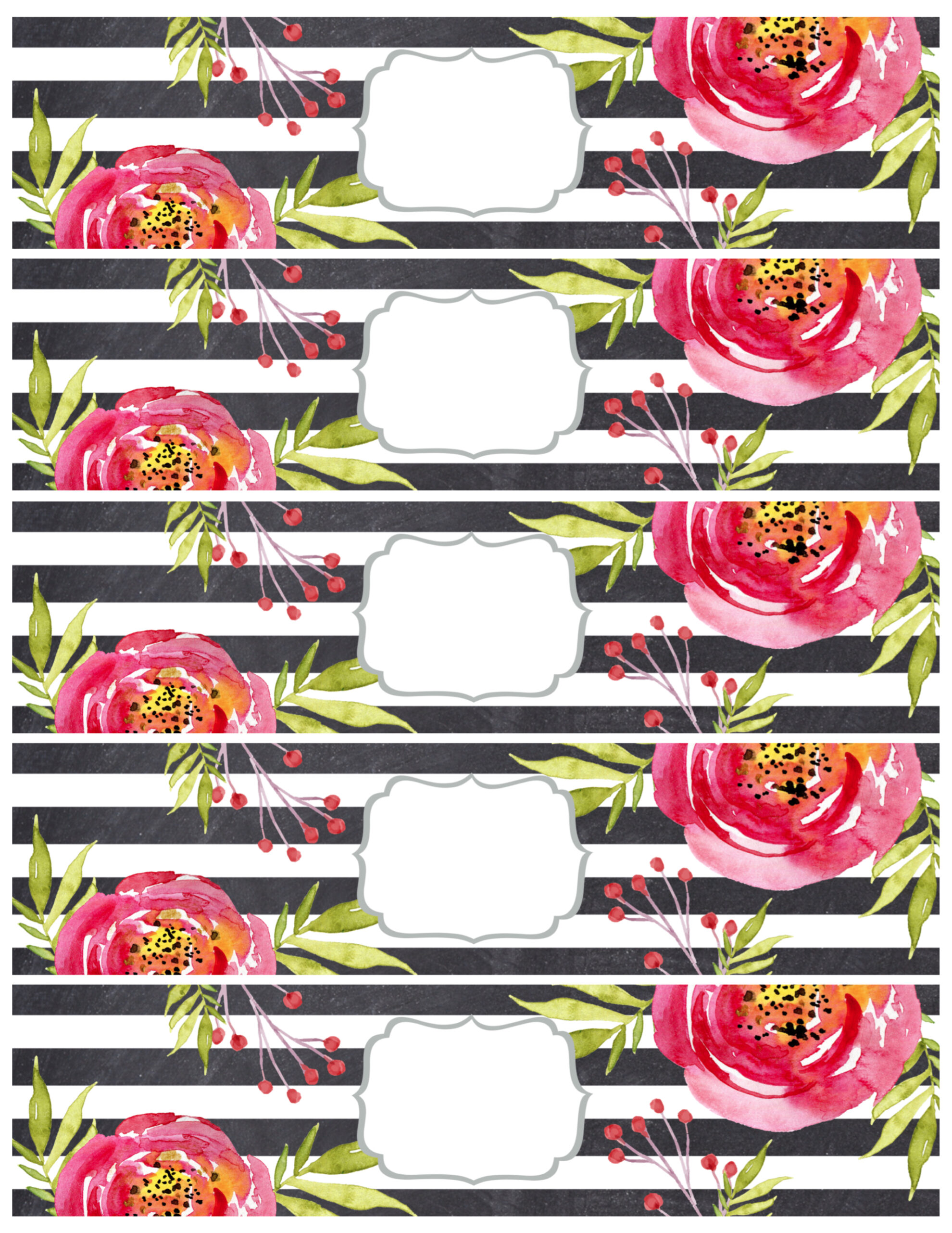 Flower Water Bottle Labels Free Printable