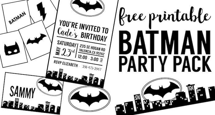 Superior Free Batman Party Printables