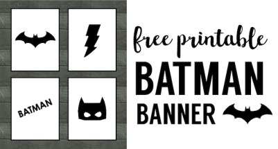 Batman Party Banner Free Printable. Easy decor for a Batman birthday party. Cheap DIY Batman party supplies. Batman party accessories.