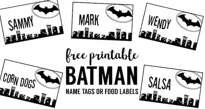 image about Free Printable Name Labels named Batman Status Tags Cost-free Printable - Paper Path Style and design