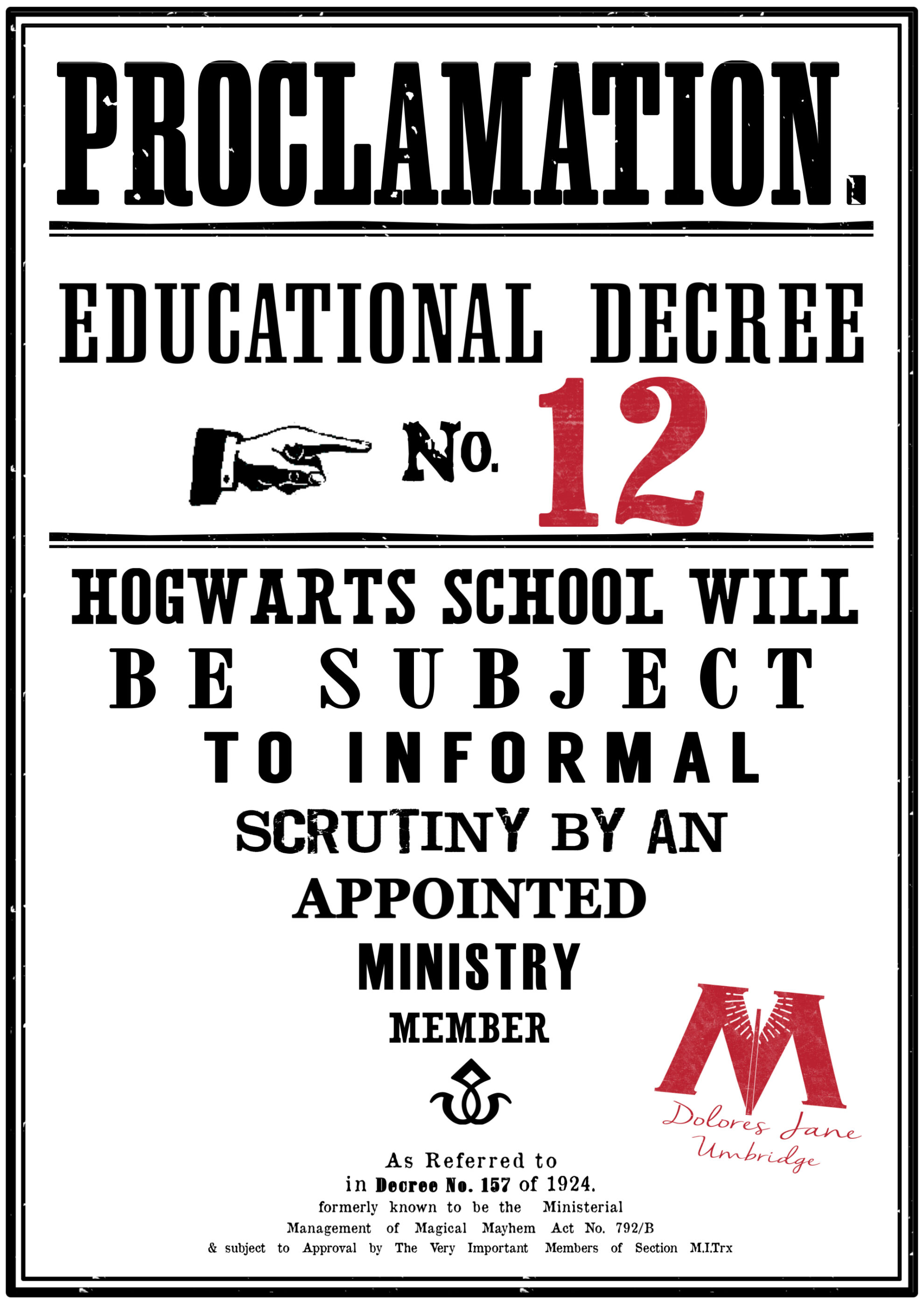 Harry Potter Educational Decrees Free Printables