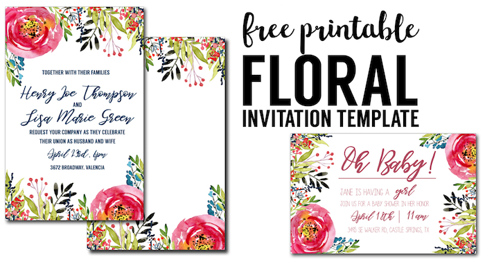 floral invitation template free printable paper trail. Black Bedroom Furniture Sets. Home Design Ideas