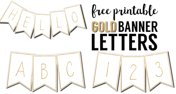 Free Printable Banner Letters Template. These gold free printable letters for banners are a great DIY to customize a banner for a birthday party, wedding, bridal shower or baby shower.