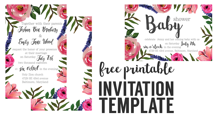 Floral Invite Free Printable Invitation Templates. Floral invitation template for a wedding, bridal shower, baby shower, birthday party, retirement party, or graduation party.