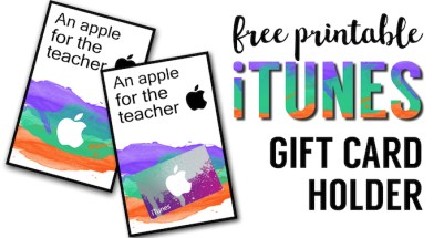 Apple Teacher Printable iTunes Gift Card Holder. Easy teacher appreciation gifts free printable. DIY unique teacher appreciation gifts.